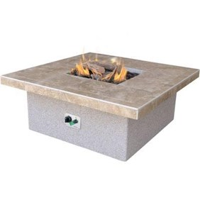 Cal Flame Stucco and Tile Square Gas Fire Pit