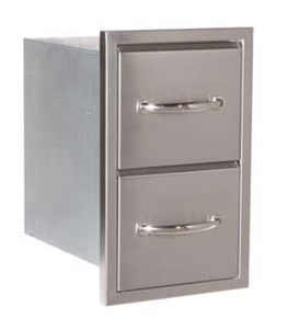 Luxor Medallion Stainless Steel Double Drawers  - AHT-M-2D