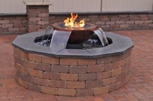 HPC Evolution 360 Fire and Water Feature-  Copper 4-Scupper Water Effect,  Electronic Ignition Fire,  Gas- WB52R-TEMP4 EI