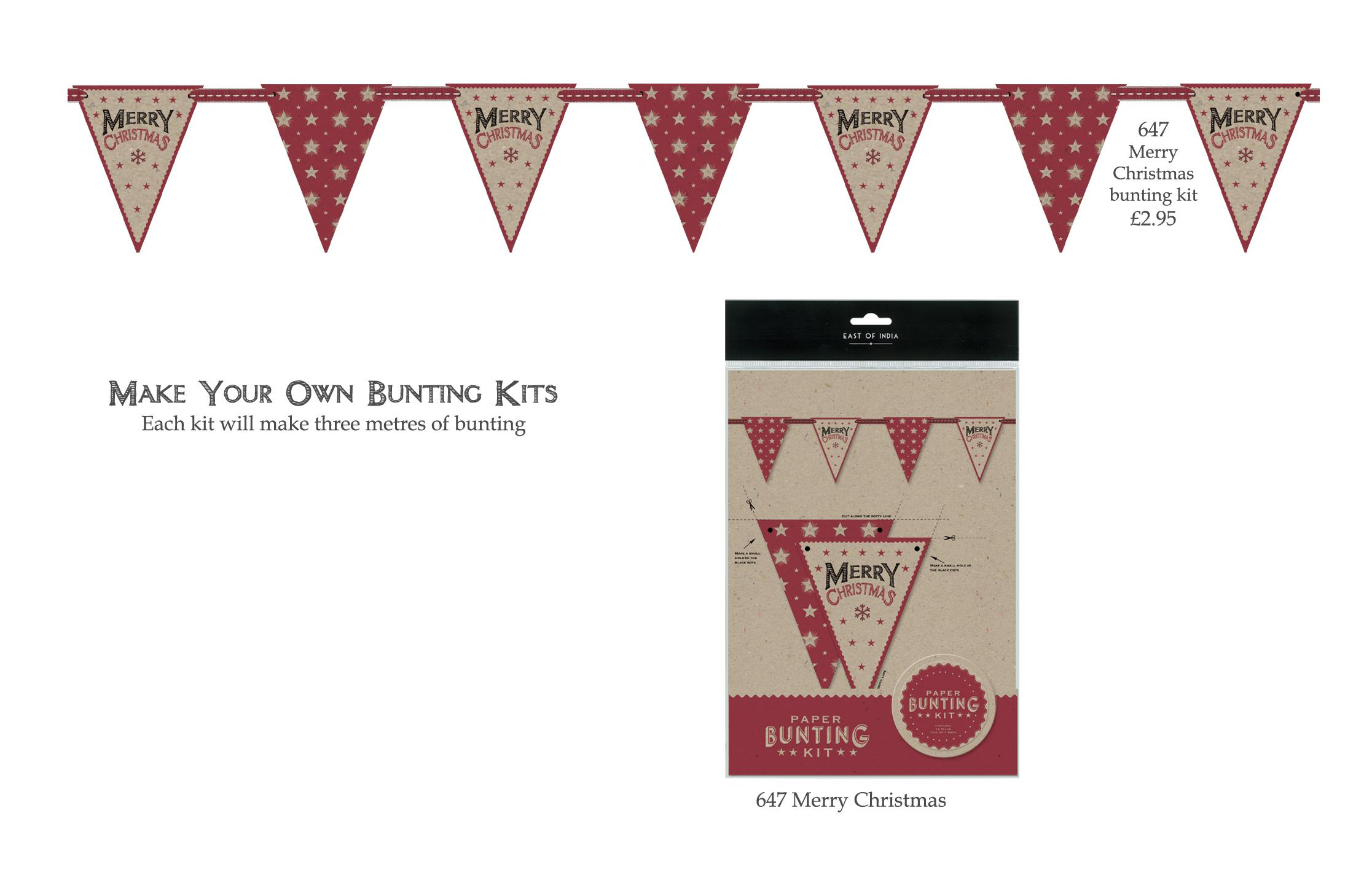 Bunting kit merry christmas east of india australasia Make your own christmas bunting