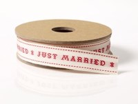 Embroidered Just Married ribbon
