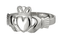 Gents Heavy Traditional White Gold Claddagh Ring