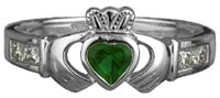 S2594 - Ladies synthetic and cubic zirconia claddagh ring