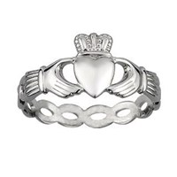 New S2550 Sterling Silver Woven Claddagh
