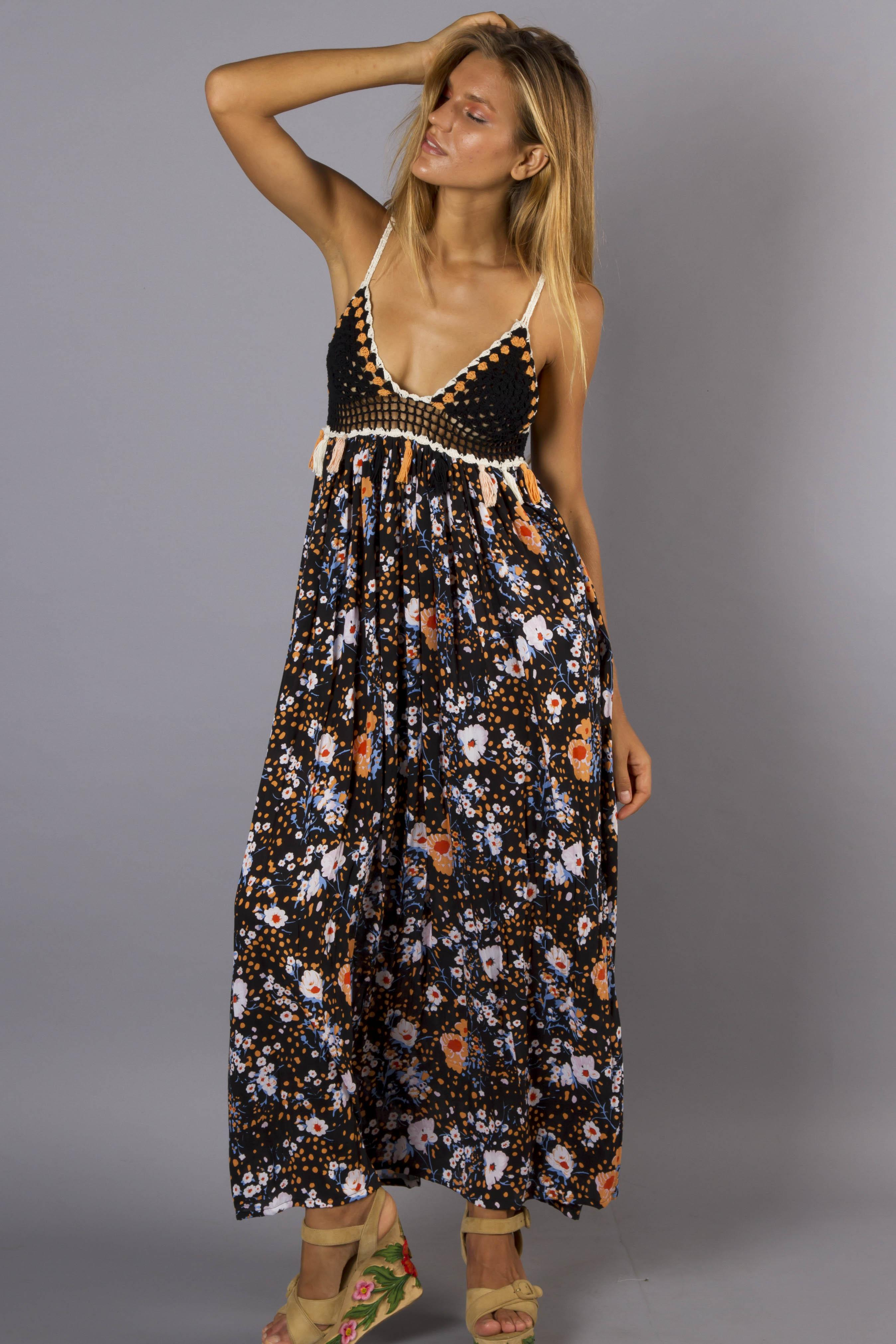 Hey Darlin Womens Floral Maxi Dress With Crochet Bodice Fillyboo