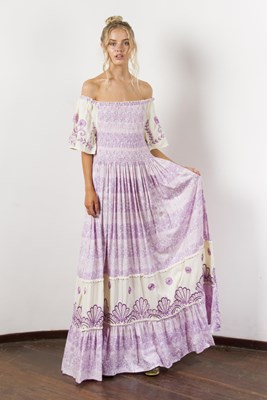 """""""Hummingbird"""" Women's printed and embroidered maxi dress with shirred bodice - Lilac"""