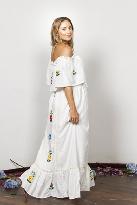 """Bermain Nursing Dress"" Nursing Maxi Dress - Vintage inspired embroidery - Ivory"