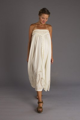 """Abbey Road"" maternity maxi skirt / strapless dress - Cream"