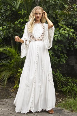 """""""Is There Love On Mars?"""" Women's reversible gown - Ivory on Ivory"""
