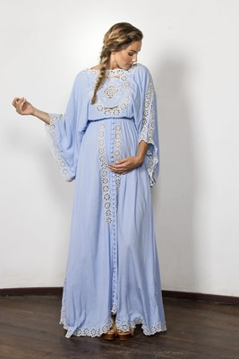 """I Believe In Unicorns - Maxi Dress"" embroidered maxi dress - Powder blue"
