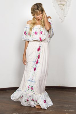"""Seeker Lover Keeper Nursing Dress"" Embroidered Nursing Maxi Dress - Cross Stitch"