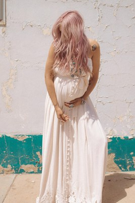 """Candyland"" Cut-Work Embroidery Maternity Maxi Dress - Blush"