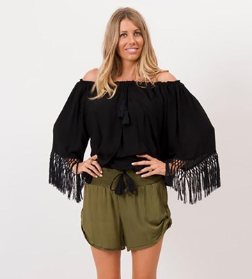 """Macrame Dreamcatcher"" Nursing Peasant Top - Black"