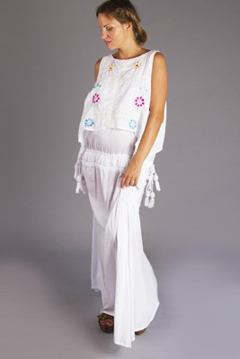 """Bermain Cold Shoulder"" embroidered maternity and nursing maxi dress"
