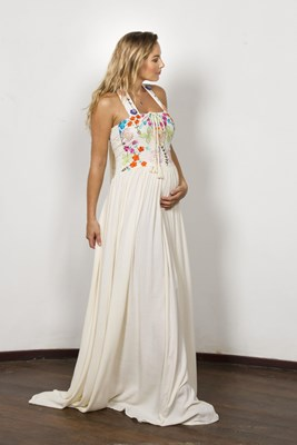 """Botanica"" Women's crochet and embroidered maxi dress - Blush"