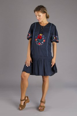 """Mockingbird Nursing Midi"" embroidered maternity and nursing midi dress - Navy Blue"