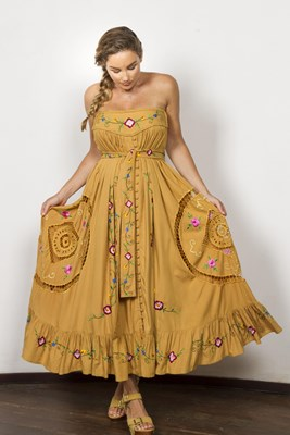 """""""Love Note"""" maxi skirt / strapless dress - Gold with delicate cut-work embroidery"""