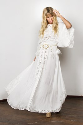 """I Believe In Unicorns - Maxi Dress"" Women's embroidered maxi dress - Off White"