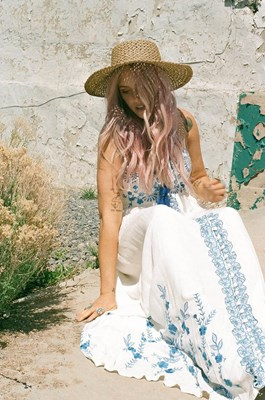 """""""Blue Lagoon"""" Women's crochet and embroidered maxi dress - Ivory"""