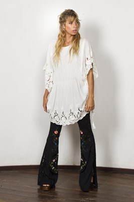 """""""Repeat After Me"""" embroidered maternity and nursing kaftan - Ivory"""