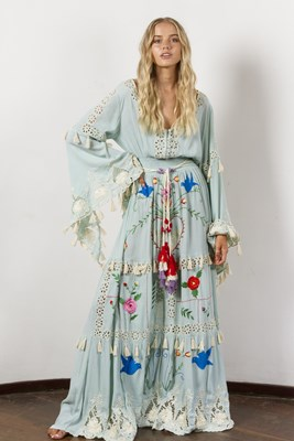 """Little Bear"" Hand embroidered maxi dress in pastel Jade"