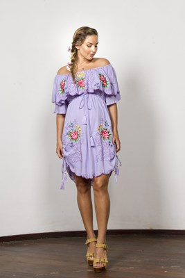 """Georgies Girl - Off The Shoulder Mini"" NURSING embroidered off-shoulder mini dress with drawstring waist"
