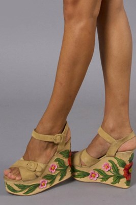 """""""Of The Lore Wedges"""" suede and wood-carved platform wedges - light tan"""