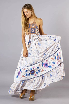 """Kiss Chasey"" Women's crochet and embroidered maxi dress"
