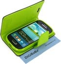Mercury Fancy Diary Flip case cover for Samsung Galaxy S3 mini - Black / Lime Green - with Card Slot
