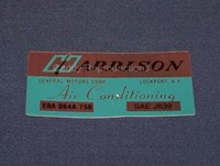 1975 - 1979 Cadillac Harrison Air Condition Decal