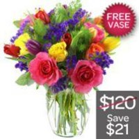 Bright Mixed Flowers With Free Vase