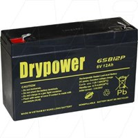 Drypower 6V 12Ah Sealed Lead Acid Battery (Replacement for Panasonic  LC-R0612P)