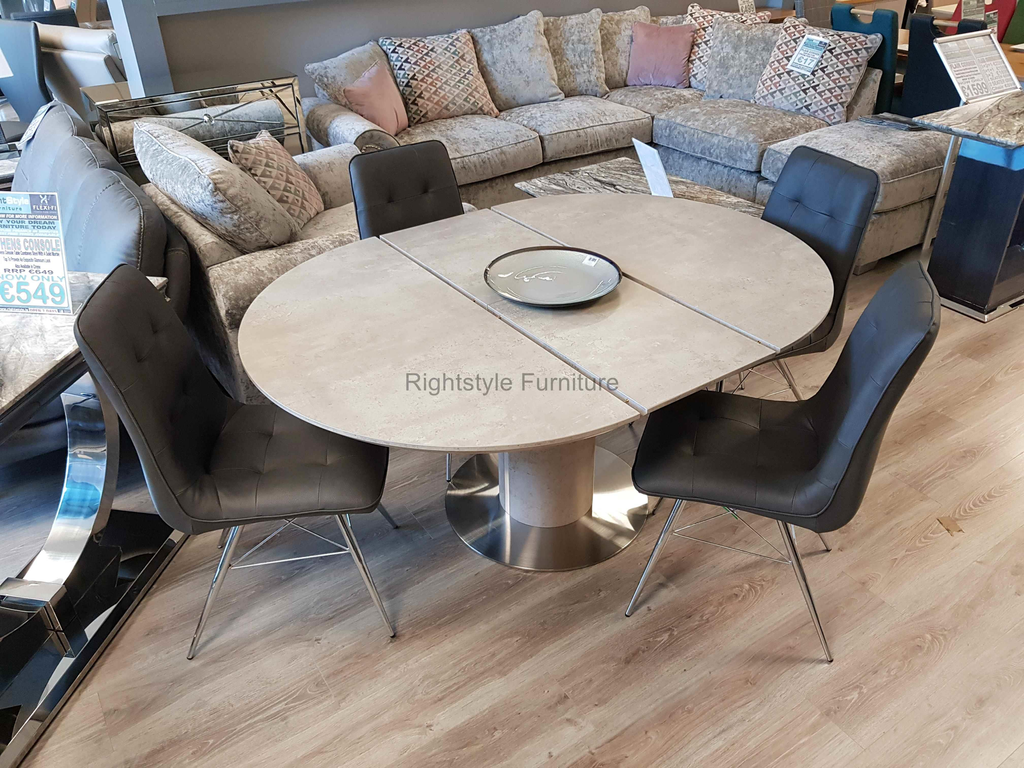 Picture of: Round Dining Table Set Concrete Effect Dublin Ireland Furniture Store Rightstyle