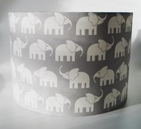 Elephant grey fabric lampshade for ceiling or bedside lights