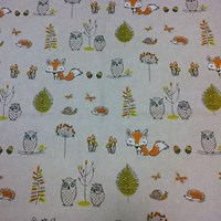 Contemporary nursery curtains in woodland creatures design