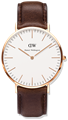 DANIEL WELLINGTON®<br/>Classic Bristol 36mm Rose Gold Brown Leather Strap