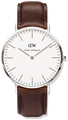 DANIEL WELLINGTON®<br/>Classic Bristol 36mm Silver Brown Leather Strap