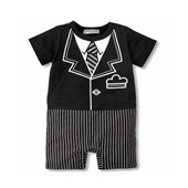 Pin Stripe Tuxedo 1 Piece Romper - Formal/Wedding Attire - Baby Boy Clothes