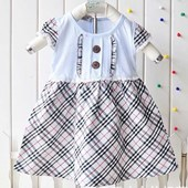 Tweed Stitch Dress In Blue - Baby Girls Clothes