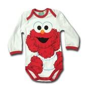 Baby Cookie Monster in Red Smiles - 123 Sesame Street® Long Sleeve Body Suit Romper - Licensed & Genuine