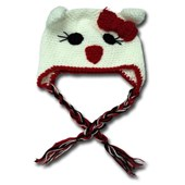 White Mousey Hand knitted beanie / hats - Babies Accessories