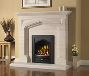 PureGlow Harvington Limestone Fireplace Suite complete with Gas Fire