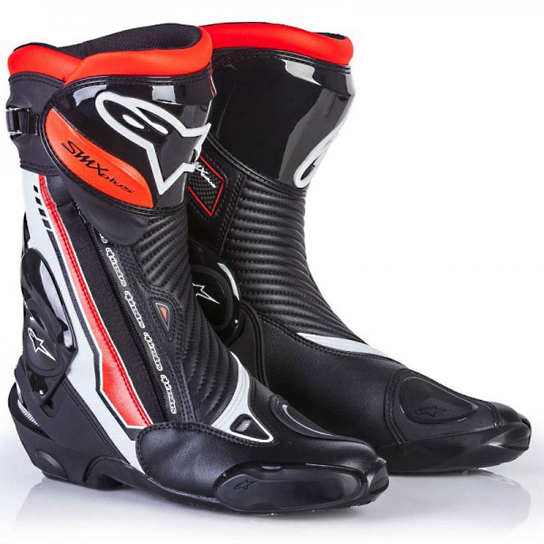 clearance alpinestars smx plus boots black white fluro red online motorcycle accessories. Black Bedroom Furniture Sets. Home Design Ideas