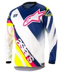 Alpinestars 2018 Youth Racer Supermatic Jersey - White/Dark Blue/Yellow Fluo