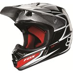 (CLEARANCE SALE) - Fox V3 Race Black Silver Helmet 2013