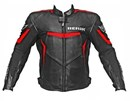 (CLEARANCE SALE) - Berik Logo Leather Jacket - Black / Red