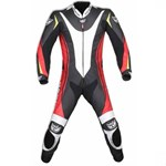 (CLEARANCE SALE) - BERIK TROJAN 1 PIECE CE MENS LEATHER SUIT - Red