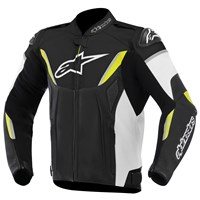 (CLEARANCE SALE) - Alpinestars GP R Perforated Leather Jacket - Black/White/Fluro Yellow