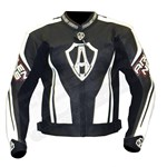 (CLEARANCE SALE) - Arlen Ness Shield CE Leather Jacket - Black/White