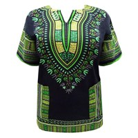 Black Green Plus Size Kaftan Dashiki Top Cover Up
